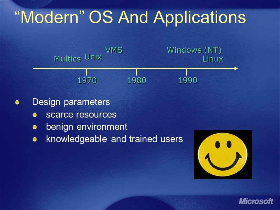 Modern OS And Applications Design parameters scarce resources benign environment knowledgeable and trained users Design parameters scarce resources benign environment knowledgeable and trained users 197019801990 Multics UnixVMS Windows (NT) Linux
