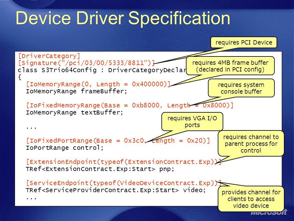 Device Driver Specification [DriverCategory] [Signature( /pci/03/00/5333/8811 )] class S3Trio64Config : DriverCategoryDeclaration { [IoMemoryRange(0, Length = 0x400000)] IoMemoryRange frameBuffer; [IoFixedMemoryRange(Base = 0xb8000, Length = 0x8000)] IoMemoryRange textBuffer;...