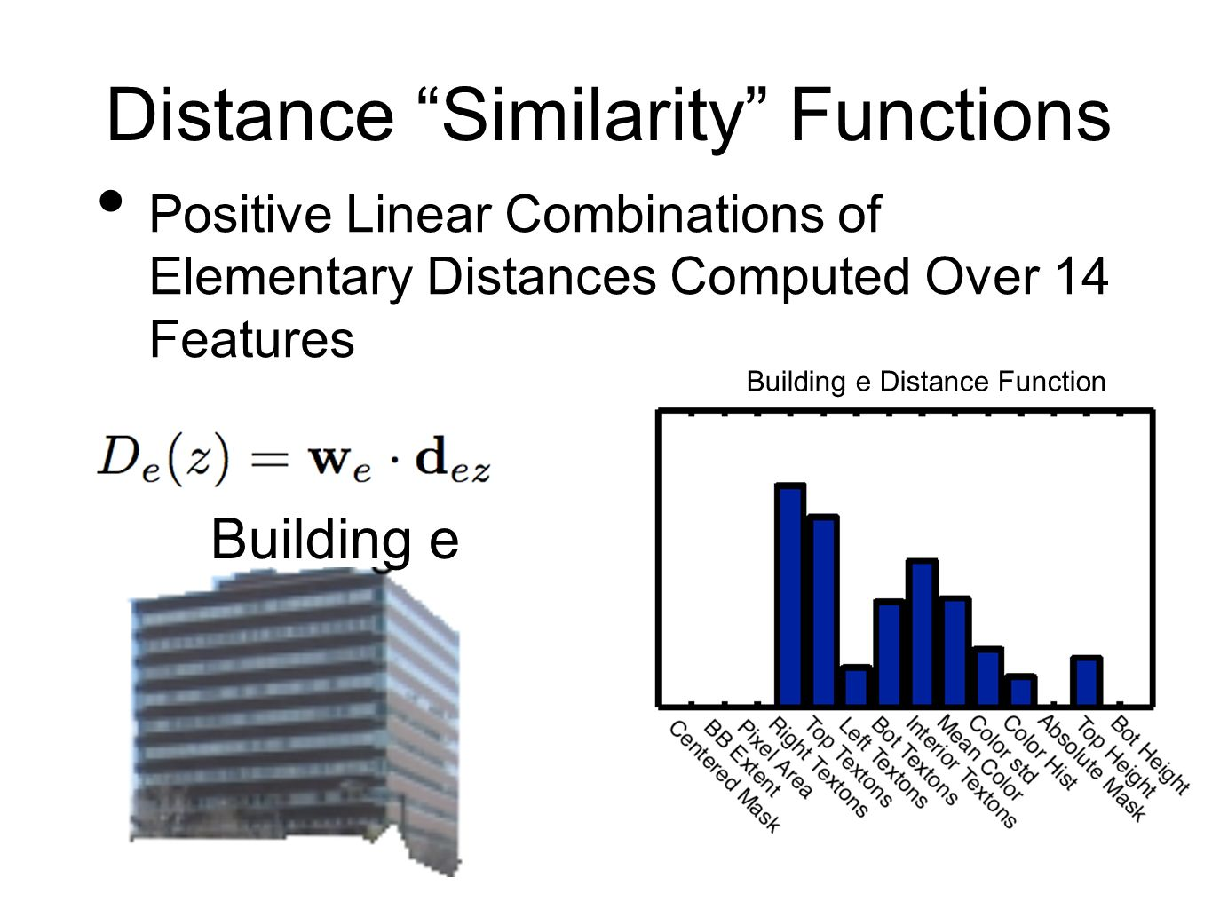 Distance Similarity Functions Positive Linear Combinations of Elementary Distances Computed Over 14 Features Building e Distance Function Building e