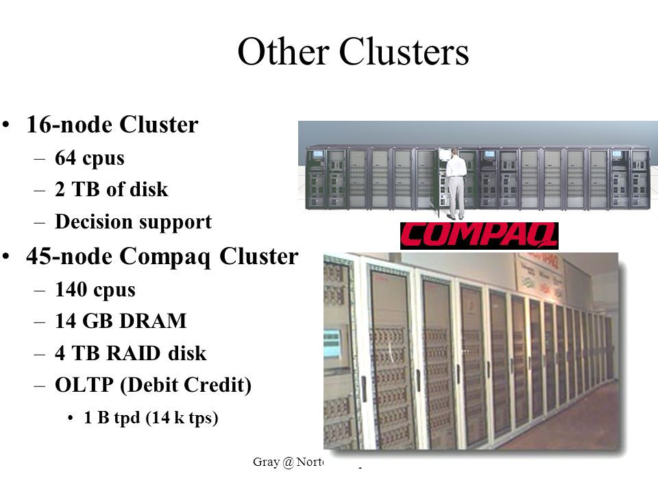 Gray @ Nortel 20 April 1999 Other Clusters 16-node Cluster –64 cpus –2 TB of disk –Decision support 45-node Compaq Cluster –140 cpus –14 GB DRAM –4 TB