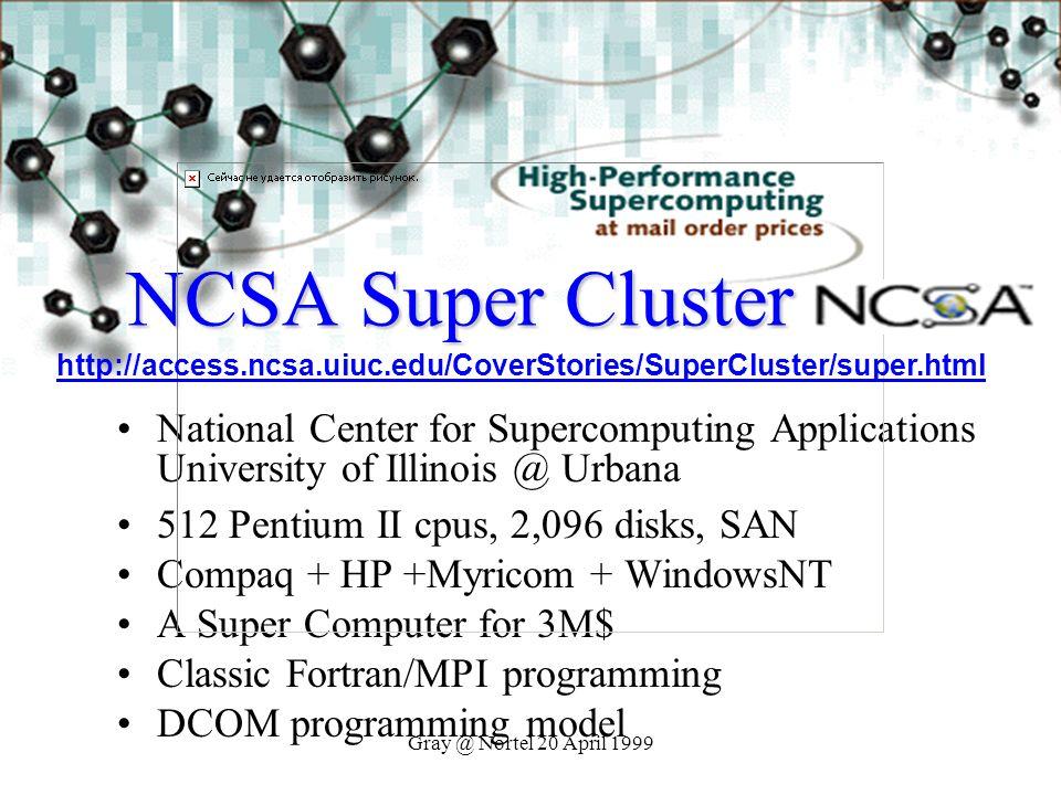 Gray @ Nortel 20 April 1999 NCSA Super Cluster National Center for Supercomputing Applications University of Illinois @ Urbana 512 Pentium II cpus, 2,