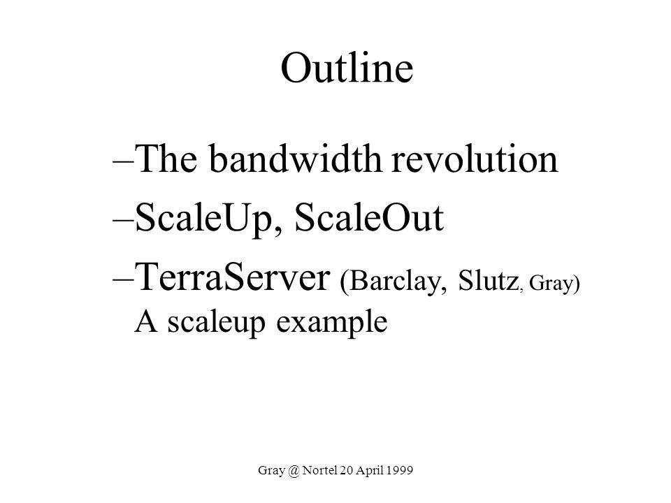 Gray @ Nortel 20 April 1999 Outline –The bandwidth revolution –ScaleUp, ScaleOut –TerraServer (Barclay, Slutz, Gray) A scaleup example