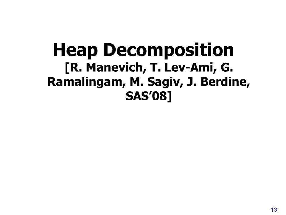 Heap Decomposition [R. Manevich, T. Lev-Ami, G. Ramalingam, M. Sagiv, J. Berdine, SAS08] 13