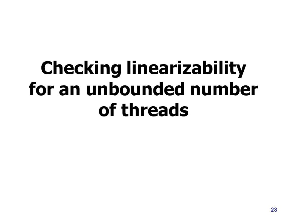 Checking linearizability for an unbounded number of threads 28