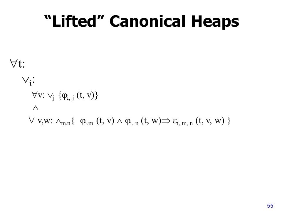 55 t: i : v: j { i, j (t, v)} v,w: m,n } i,m (t, v) i, n (t, w) i, m, n (t, v, w) } Lifted Canonical Heaps