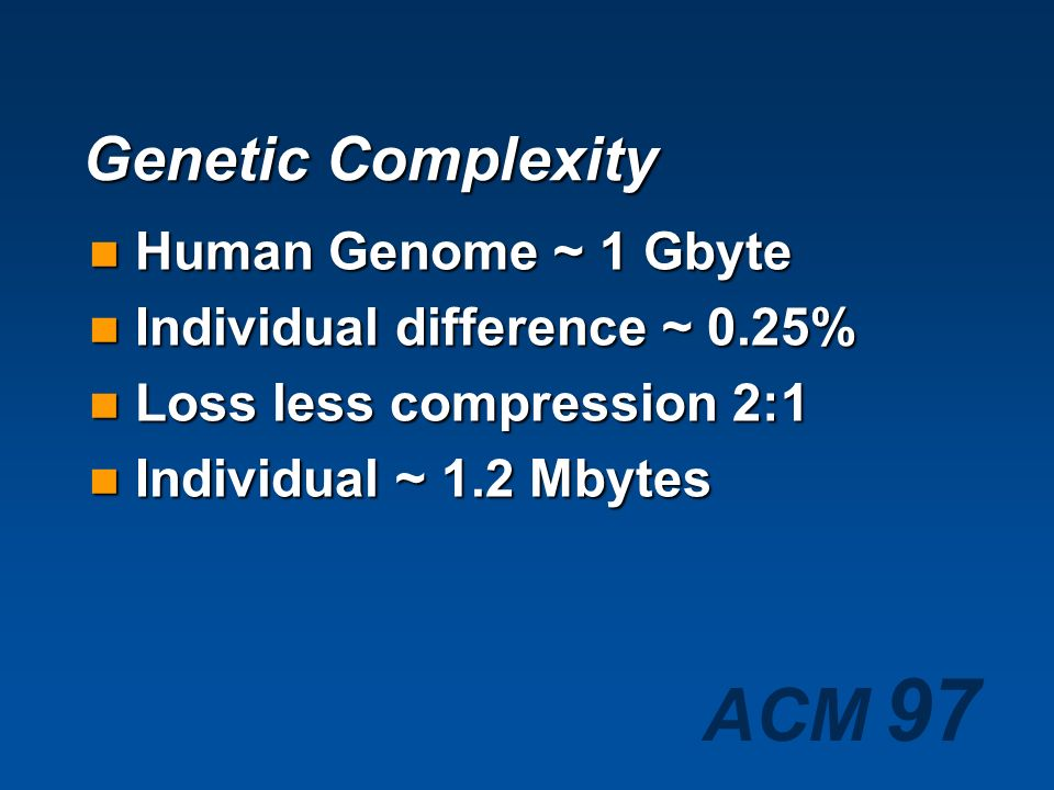 ACM 97 Genetic Complexity Human Genome ~ 1 Gbyte Human Genome ~ 1 Gbyte Individual difference ~ 0.25% Individual difference ~ 0.25%