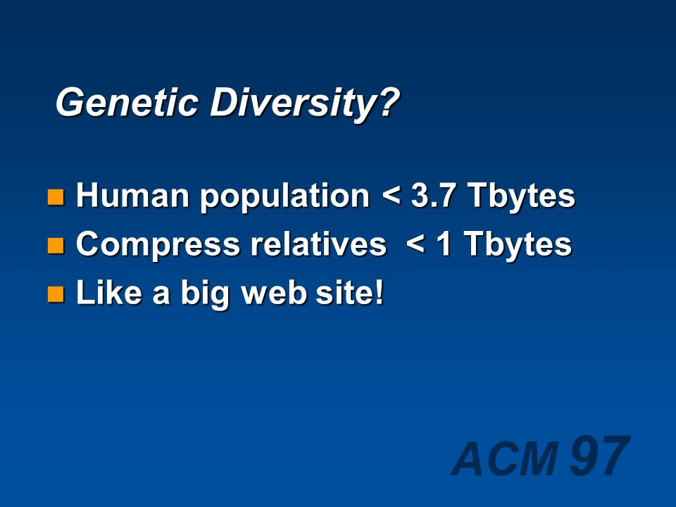ACM 97 Genetic Complexity Human Genome ~ 1 Gbyte Human Genome ~ 1 Gbyte Individual difference ~ 0.25% Individual difference ~ 0.25% Loss less compress