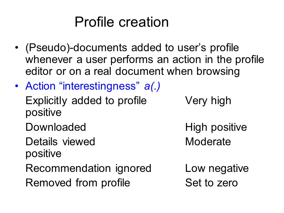Profile creation (Pseudo)-documents added to users profile whenever a user performs an action in the profile editor or on a real document when browsing Action interestingness a(.) Explicitly added to profileVery high positive DownloadedHigh positive Details viewedModerate positive Recommendation ignoredLow negative Removed from profileSet to zero