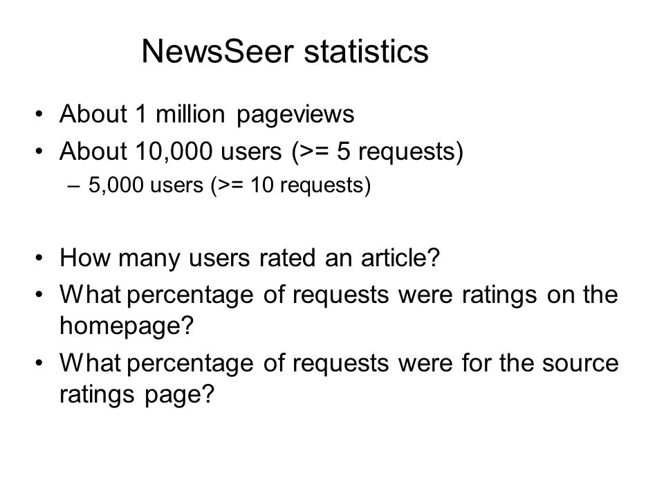 NewsSeer statistics About 1 million pageviews About 10,000 users (>= 5 requests) –5,000 users (>= 10 requests) How many users rated an article.