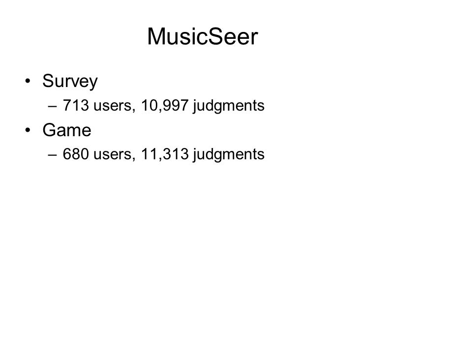 MusicSeer Survey –713 users, 10,997 judgments Game –680 users, 11,313 judgments