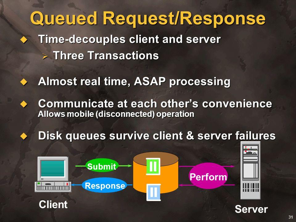 31 Queued Request/Response Time-decouples client and server Time-decouples client and server Three Transactions Three Transactions Almost real time, A