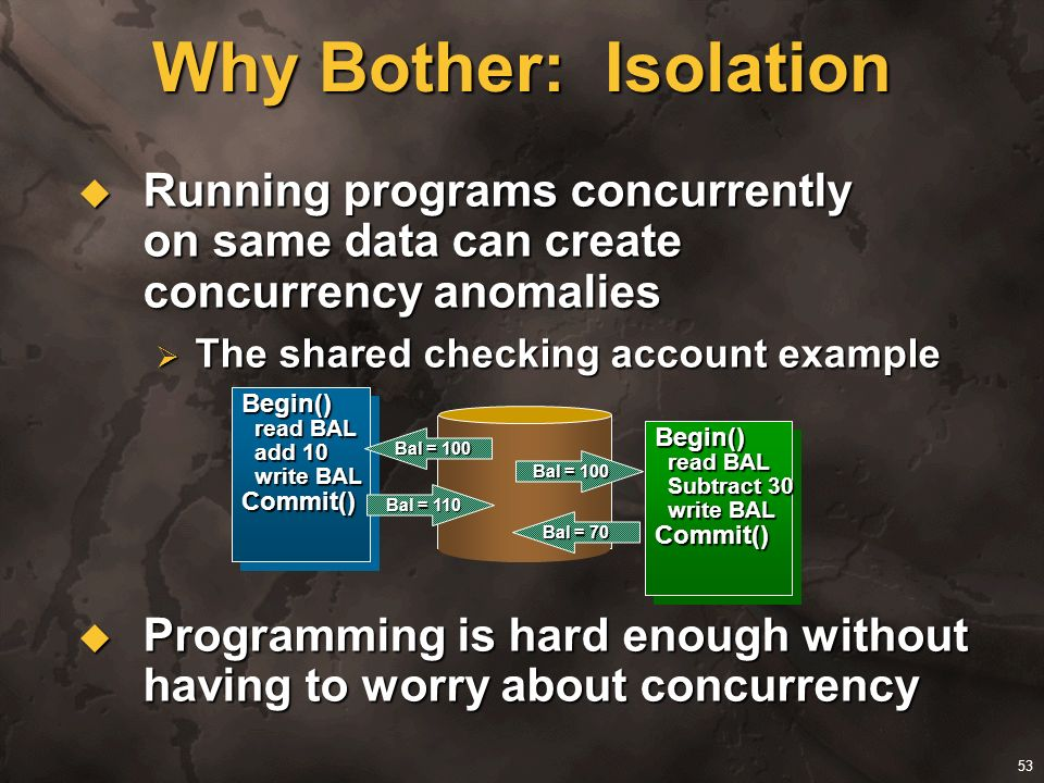 53 Why Bother: Isolation Running programs concurrently on same data can create concurrency anomalies Running programs concurrently on same data can cr