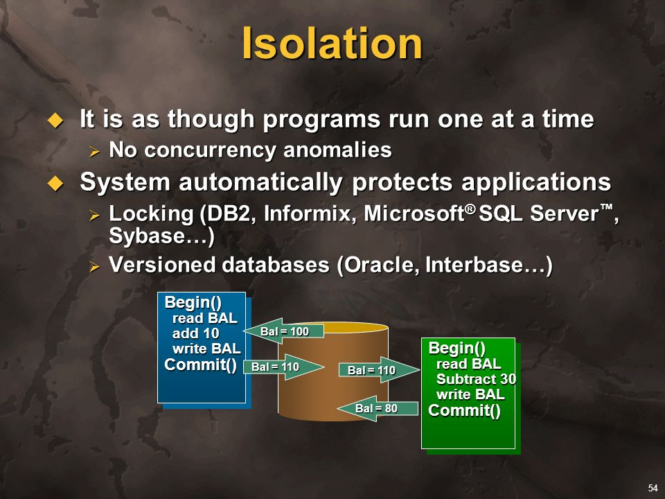54 Isolation It is as though programs run one at a time It is as though programs run one at a time No concurrency anomalies No concurrency anomalies S