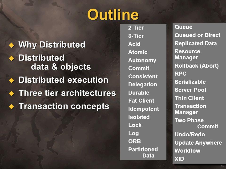94 Outline Why Distributed Why Distributed Distributed data & objects Distributed data & objects Distributed execution Distributed execution Three tie