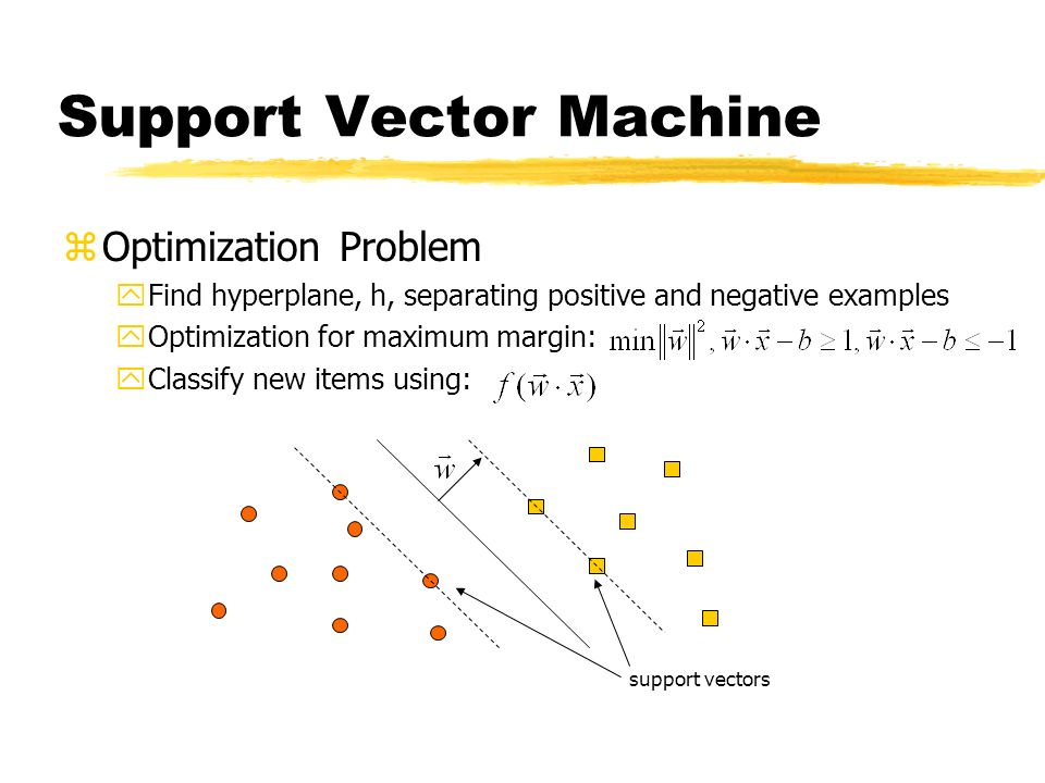 Support Vector Machine zOptimization Problem yFind hyperplane, h, separating positive and negative examples yOptimization for maximum margin: yClassify new items using: support vectors