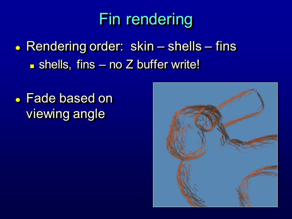 Fin rendering l Rendering order: skin – shells – fins n shells, fins – no Z buffer write.