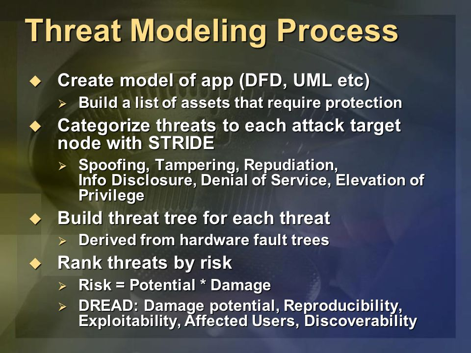 Threat Modeling Process Create model of app (DFD, UML etc) Create model of app (DFD, UML etc) Build a list of assets that require protection Build a list of assets that require protection Categorize threats to each attack target node with STRIDE Categorize threats to each attack target node with STRIDE Spoofing, Tampering, Repudiation, Info Disclosure, Denial of Service, Elevation of Privilege Spoofing, Tampering, Repudiation, Info Disclosure, Denial of Service, Elevation of Privilege Build threat tree for each threat Build threat tree for each threat Derived from hardware fault trees Derived from hardware fault trees Rank threats by risk Rank threats by risk Risk = Potential * Damage Risk = Potential * Damage DREAD: Damage potential, Reproducibility, Exploitability, Affected Users, Discoverability DREAD: Damage potential, Reproducibility, Exploitability, Affected Users, Discoverability