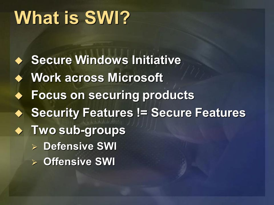 What is SWI.