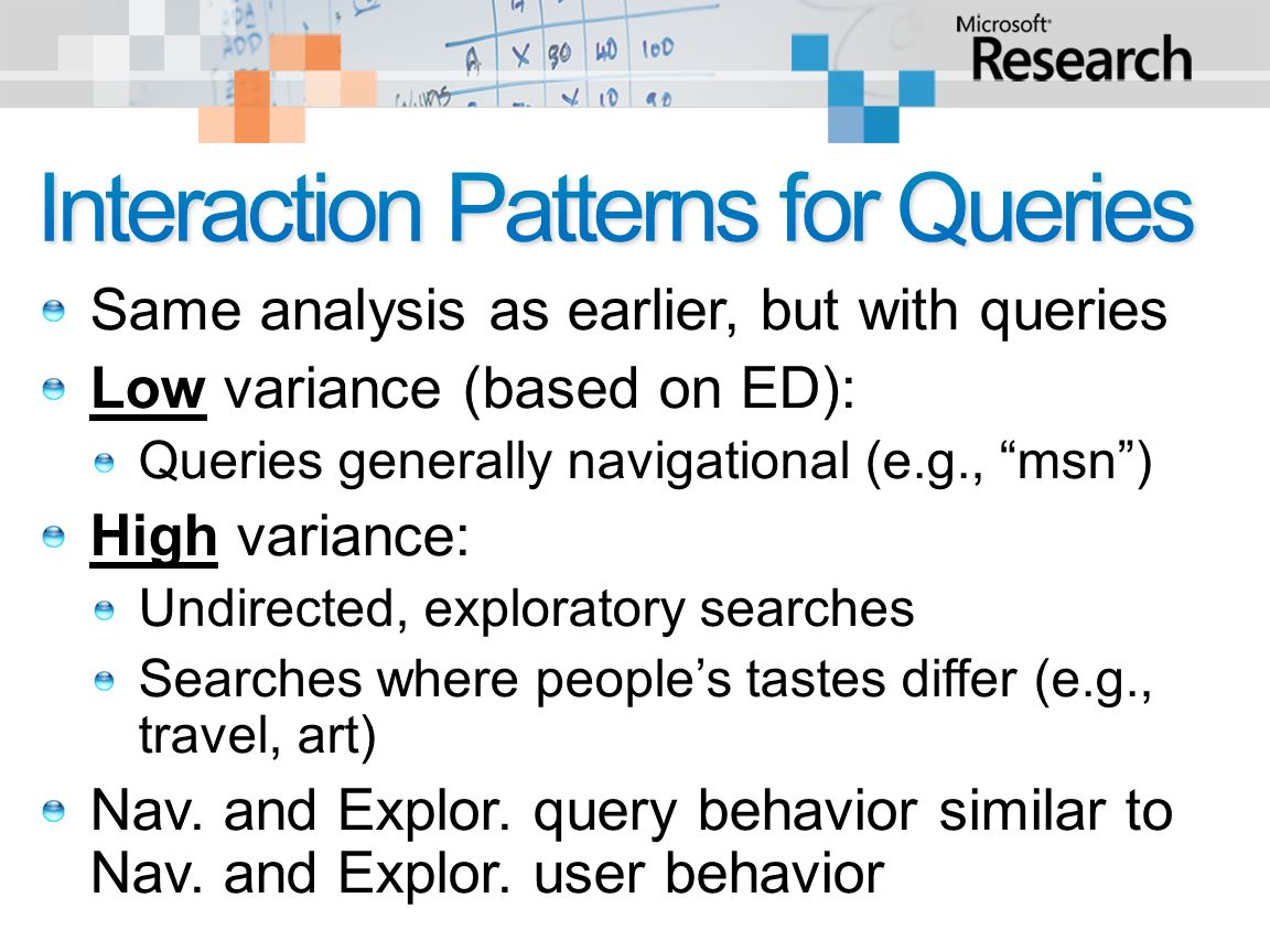 Same analysis as earlier, but with queries Low variance (based on ED): Queries generally navigational (e.g., msn) High variance: Undirected, exploratory searches Searches where peoples tastes differ (e.g., travel, art) Nav.