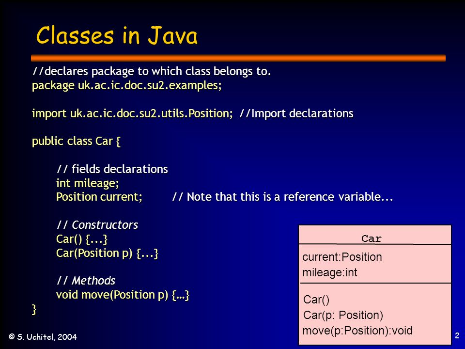 2 © S. Uchitel, 2004 Classes in Java //declares package to which class belongs to.