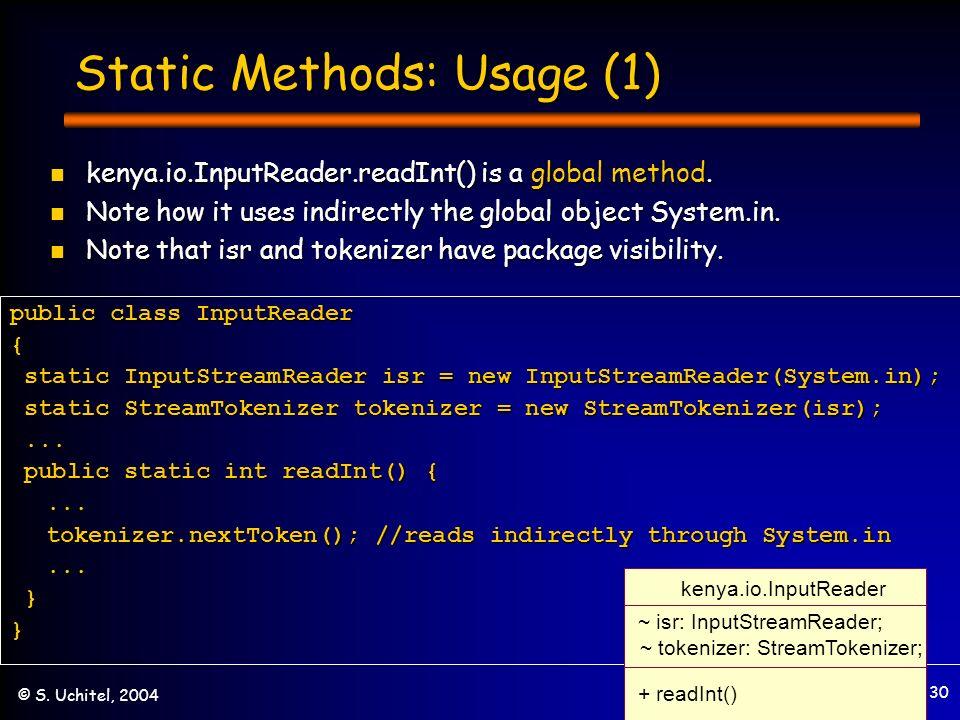 30 © S. Uchitel, 2004 Static Methods: Usage (1) kenya.io.InputReader.readInt() is a global method.