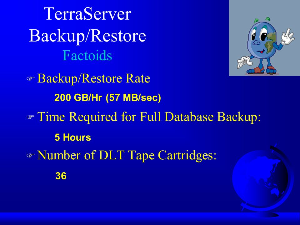TerraServer Backup/Restore Factoids F Backup/Restore Rate F Time Required for Full Database Backup: F Number of DLT Tape Cartridges: 200 GB/Hr (57 MB/sec) 5 Hours 36