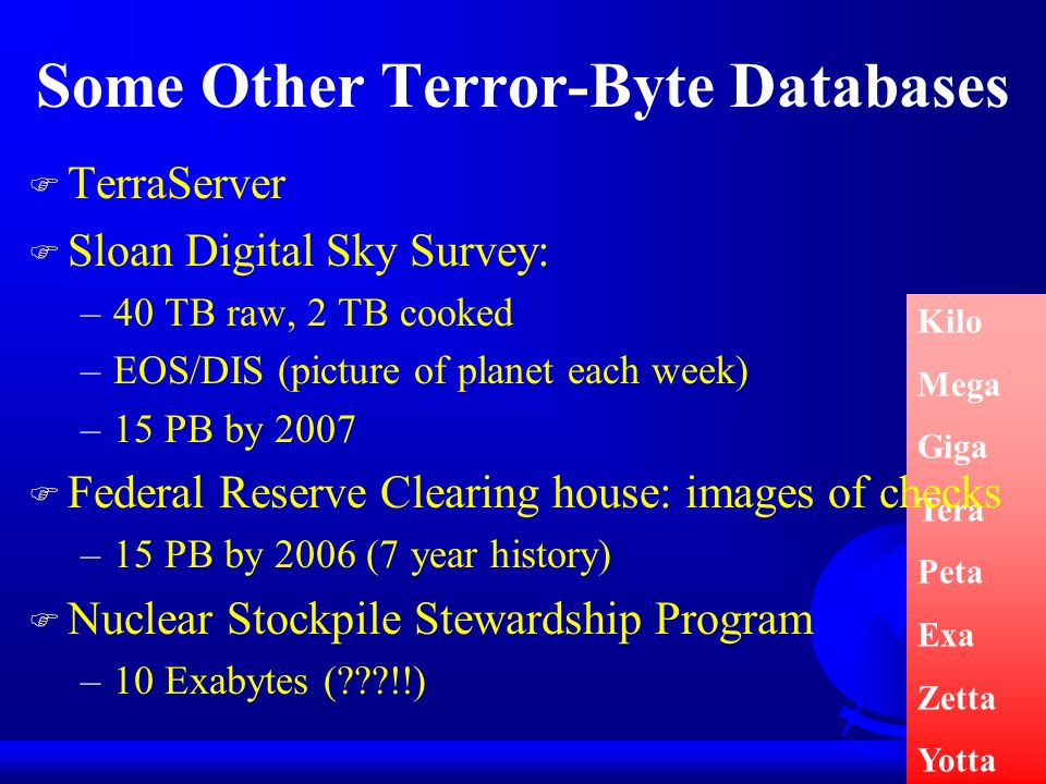 Some Other Terror-Byte Databases Kilo Mega Giga Tera Peta Exa Zetta Yotta F TerraServer F Sloan Digital Sky Survey: –40 TB raw, 2 TB cooked –EOS/DIS (picture of planet each week) –15 PB by 2007 F Federal Reserve Clearing house: images of checks –15 PB by 2006 (7 year history) F Nuclear Stockpile Stewardship Program –10 Exabytes ( !!)