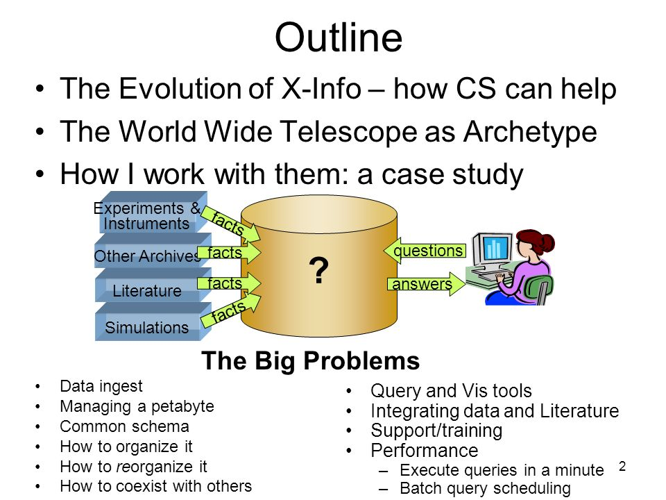 2 Outline The Evolution of X-Info – how CS can help The World Wide Telescope as Archetype How I work with them: a case study Data ingest Managing a petabyte Common schema How to organize it How to reorganize it How to coexist with others Query and Vis tools Integrating data and Literature Support/training Performance –Execute queries in a minute –Batch query scheduling The Big Problems Experiments & Instruments Simulations facts answers questions Literature Other Archives facts