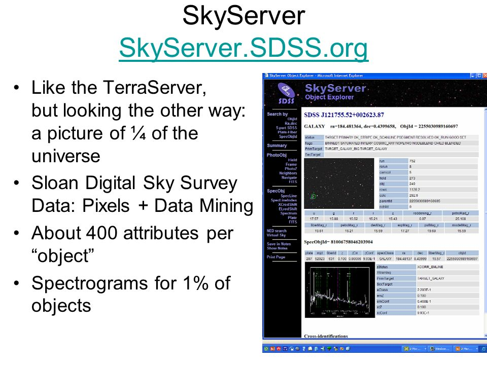 20 SkyServer SkyServer.SDSS.org SkyServer.SDSS.org Like the TerraServer, but looking the other way: a picture of ¼ of the universe Sloan Digital Sky S