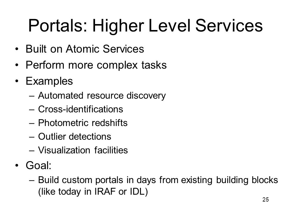 25 Portals: Higher Level Services Built on Atomic Services Perform more complex tasks Examples –Automated resource discovery –Cross-identifications –Photometric redshifts –Outlier detections –Visualization facilities Goal: –Build custom portals in days from existing building blocks (like today in IRAF or IDL)