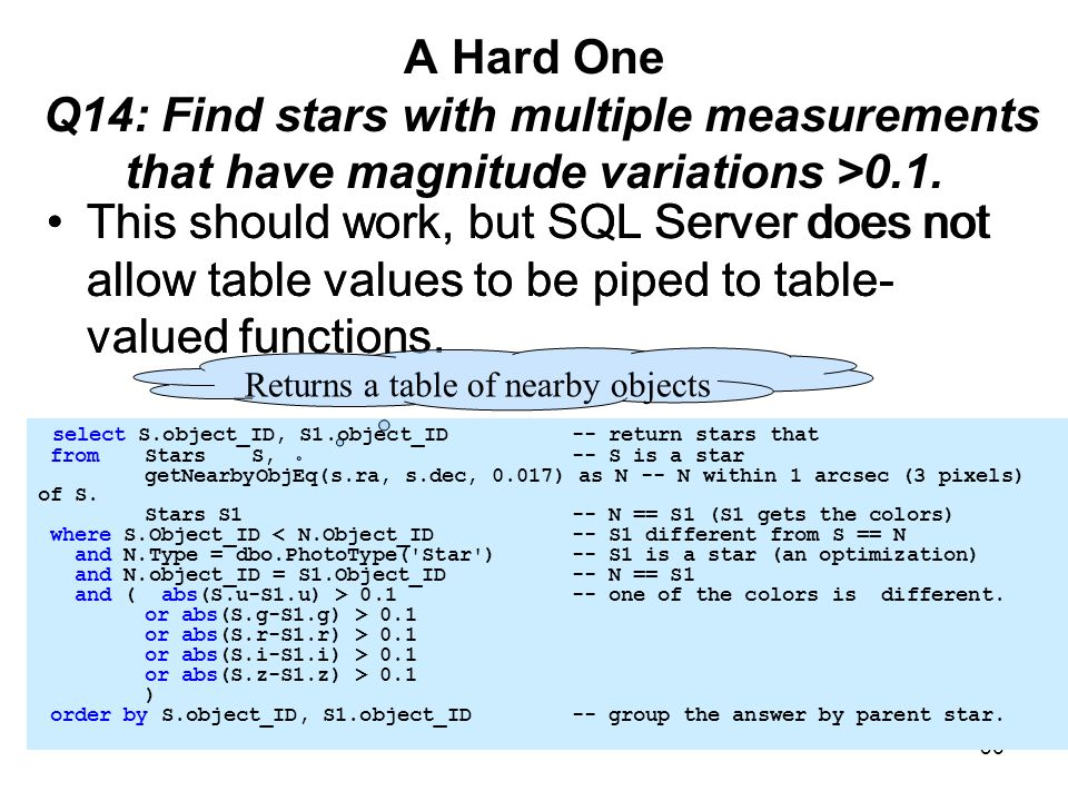 36 A Hard One Q14: Find stars with multiple measurements that have magnitude variations >0.1. This should work, but SQL Server does not allow table va