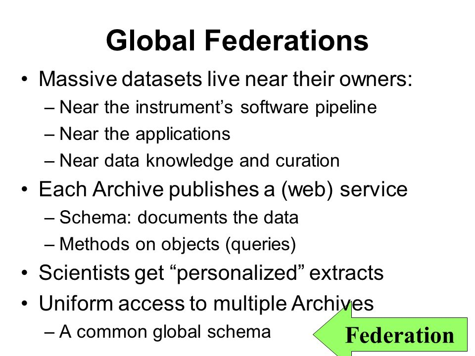 6 Federation Global Federations Massive datasets live near their owners: –Near the instruments software pipeline –Near the applications –Near data knowledge and curation Each Archive publishes a (web) service –Schema: documents the data –Methods on objects (queries) Scientists get personalized extracts Uniform access to multiple Archives –A common global schema