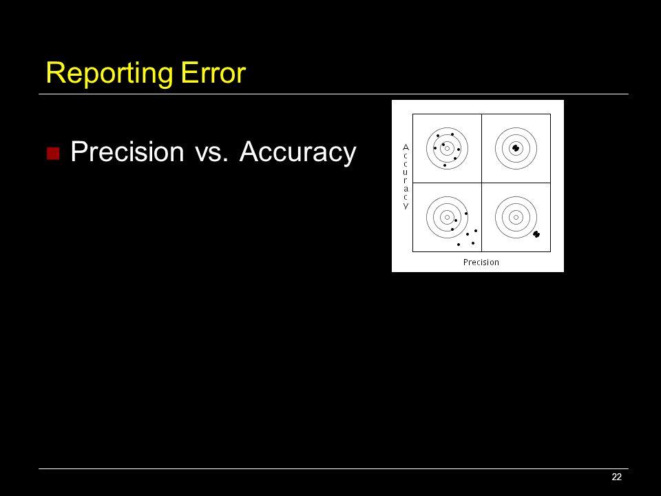 22 Reporting Error Precision vs. Accuracy