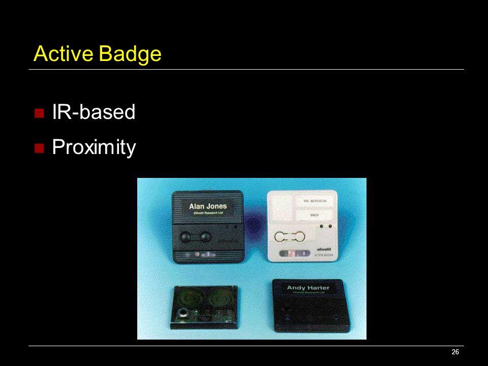 26 Active Badge IR-based Proximity