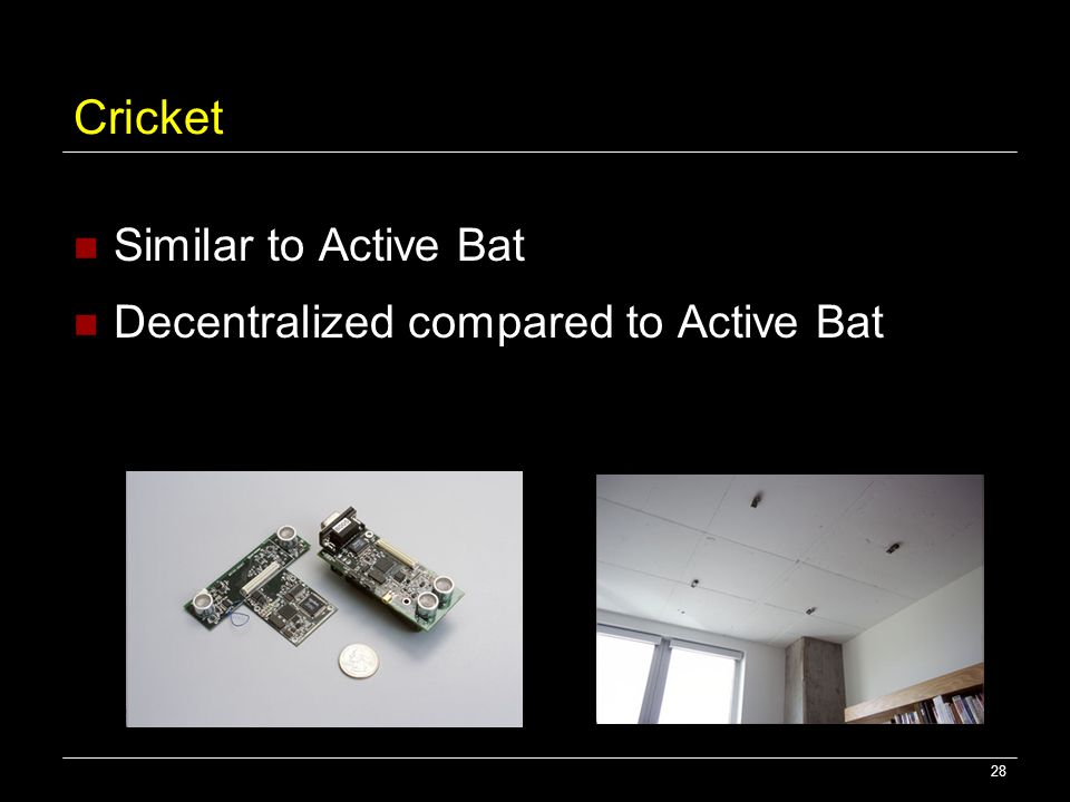 28 Cricket Similar to Active Bat Decentralized compared to Active Bat