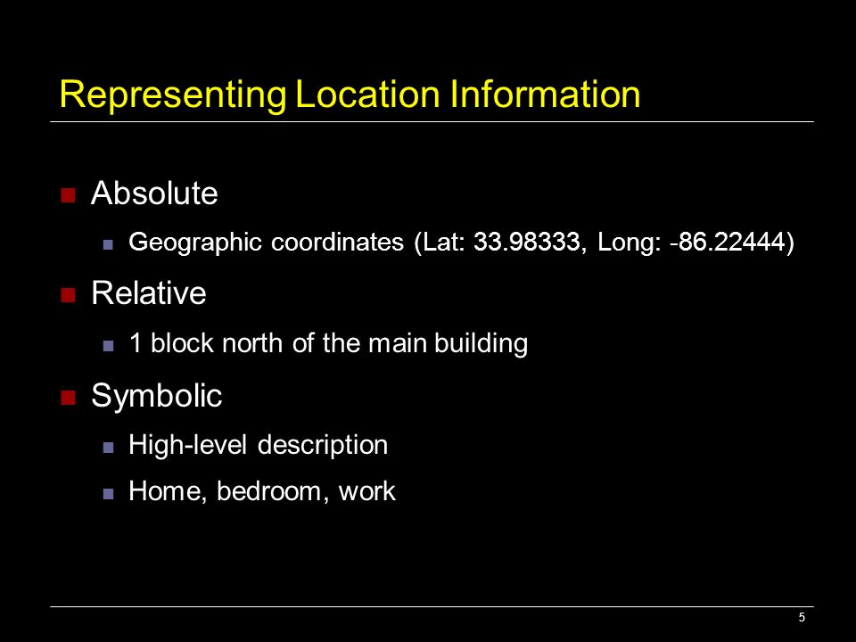 5 Representing Location Information Absolute Geographic coordinates (Lat: 33.98333, Long: -86.22444) Relative 1 block north of the main building Symbo