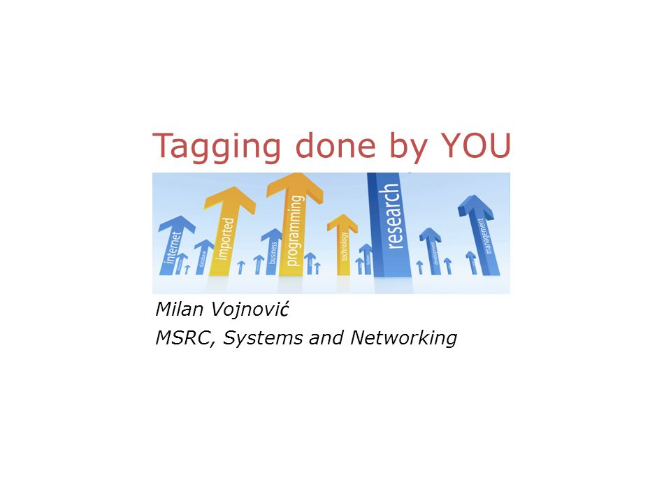 Milan Vojnovi ć MSRC, Systems and Networking Tagging done by YOU