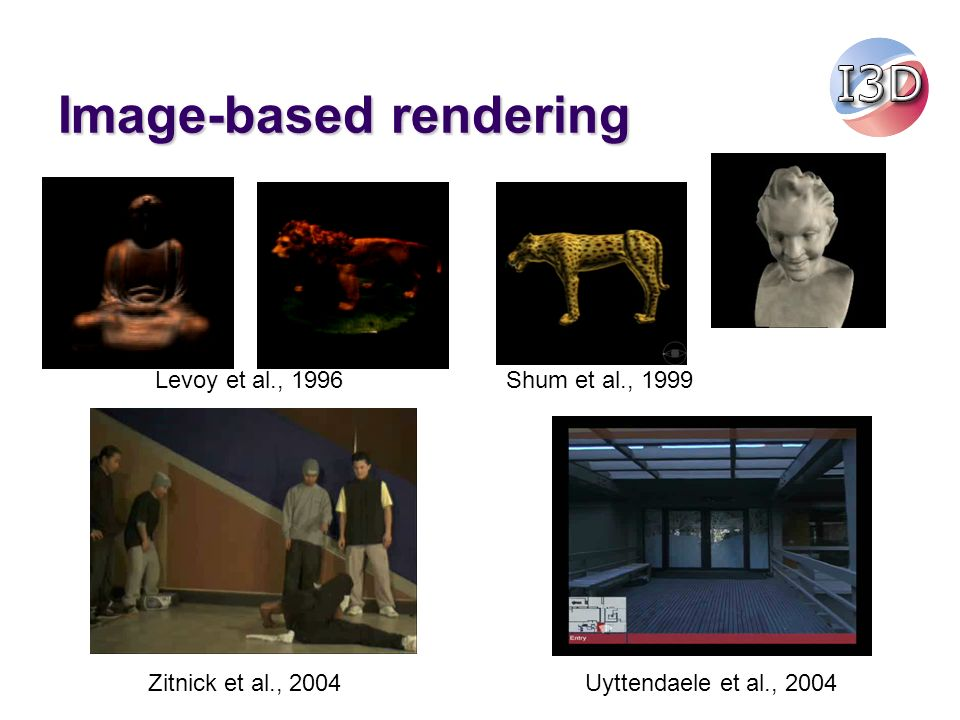 Image-based rendering Levoy et al., 1996Shum et al., 1999 Zitnick et al., 2004Uyttendaele et al., 2004