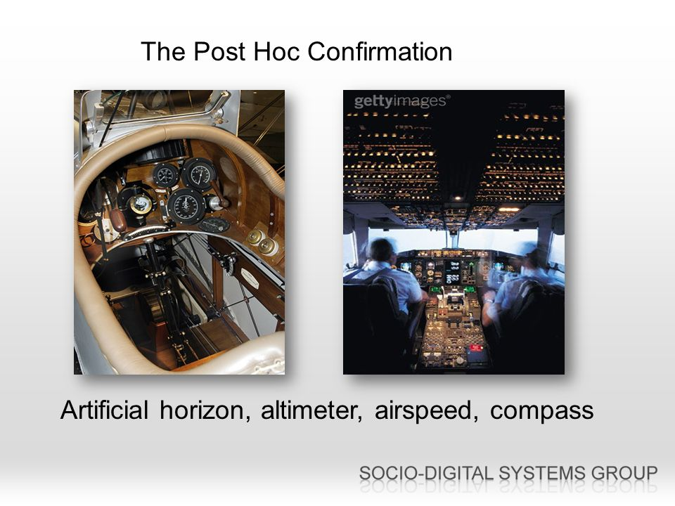 The Post Hoc Confirmation Artificial horizon, altimeter, airspeed, compass