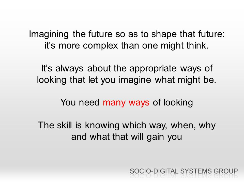 Imagining the future so as to shape that future: its more complex than one might think.