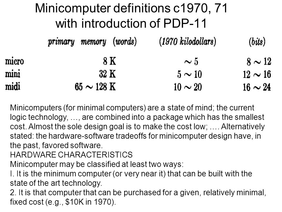 Minicomputer definitions c1970, 71 with introduction of PDP-11 Minicomputers (for minimal computers) are a state of mind; the current logic technology, …, are combined into a package which has the smallest cost.