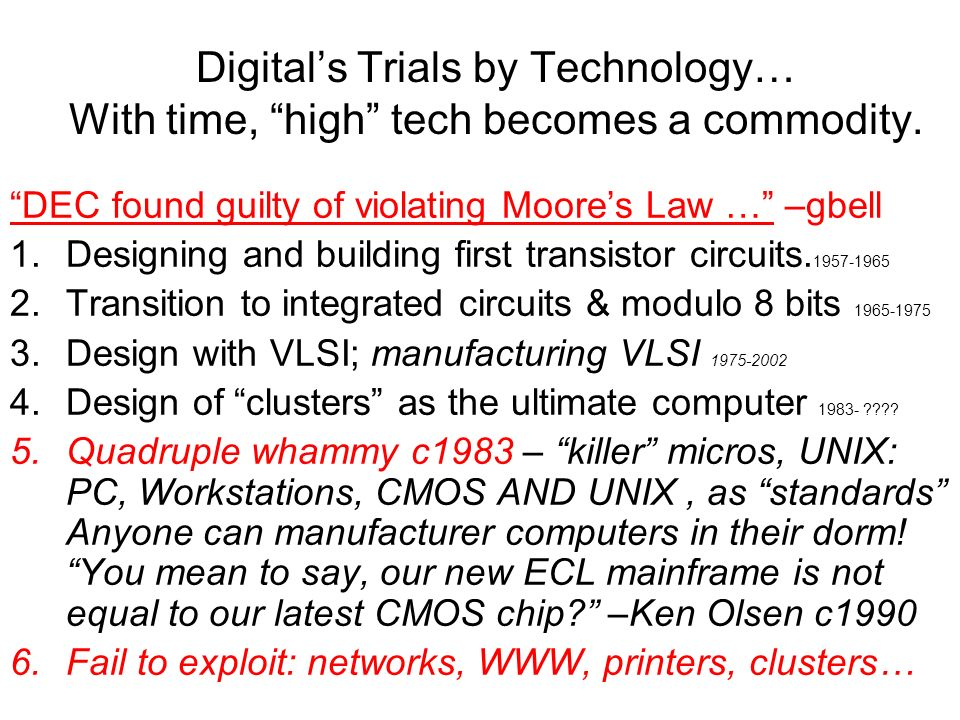 Digitals Trials by Technology… With time, high tech becomes a commodity.