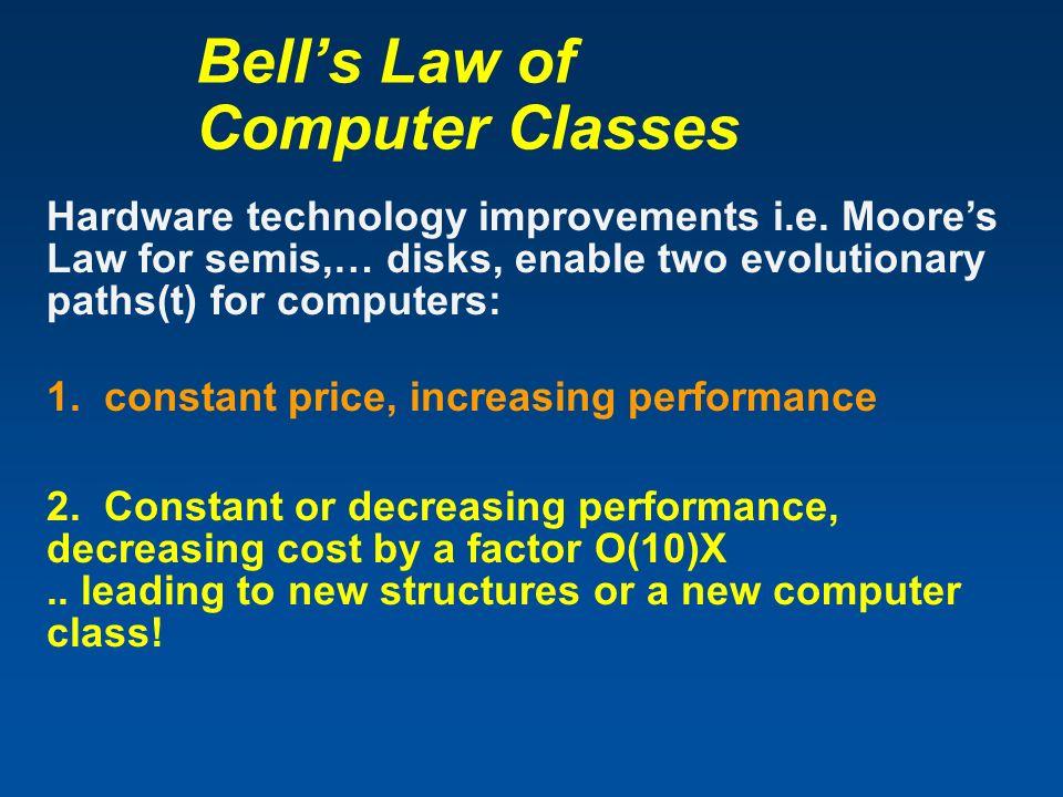 Bells Law of Computer Classes Hardware technology improvements i.e.
