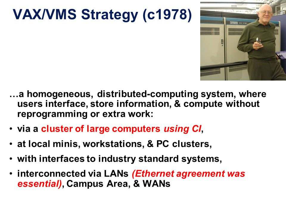 VAX/VMS Strategy (c1978) …a homogeneous, distributed-computing system, where users interface, store information, & compute without reprogramming or ex