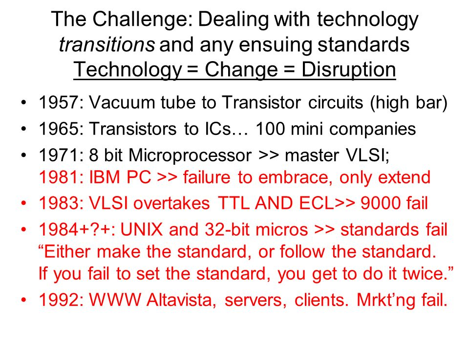 The Challenge: Dealing with technology transitions and any ensuing standards Technology = Change = Disruption 1957: Vacuum tube to Transistor circuits