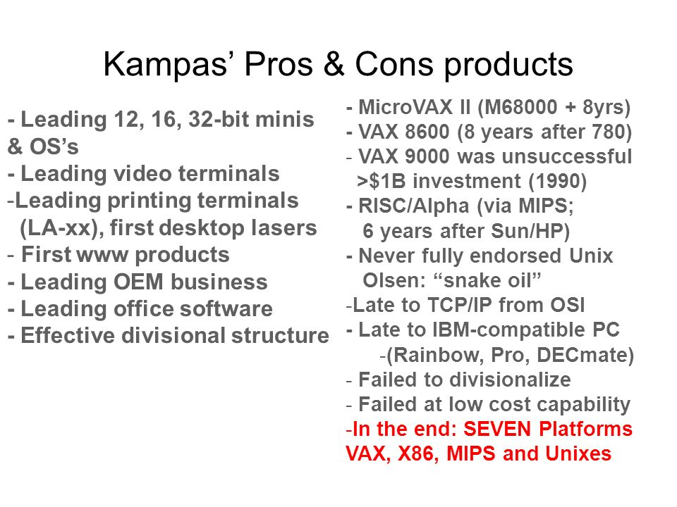 Kampas Pros & Cons products - Leading 12, 16, 32-bit minis & OSs - Leading video terminals -Leading printing terminals (LA-xx), first desktop lasers - First www products - Leading OEM business - Leading office software - Effective divisional structure - MicroVAX II (M68000 + 8yrs) - VAX 8600 (8 years after 780) - VAX 9000 was unsuccessful >$1B investment (1990) - RISC/Alpha (via MIPS; 6 years after Sun/HP) - Never fully endorsed Unix Olsen: snake oil -Late to TCP/IP from OSI - Late to IBM-compatible PC -(Rainbow, Pro, DECmate) - Failed to divisionalize - Failed at low cost capability -In the end: SEVEN Platforms VAX, X86, MIPS and Unixes