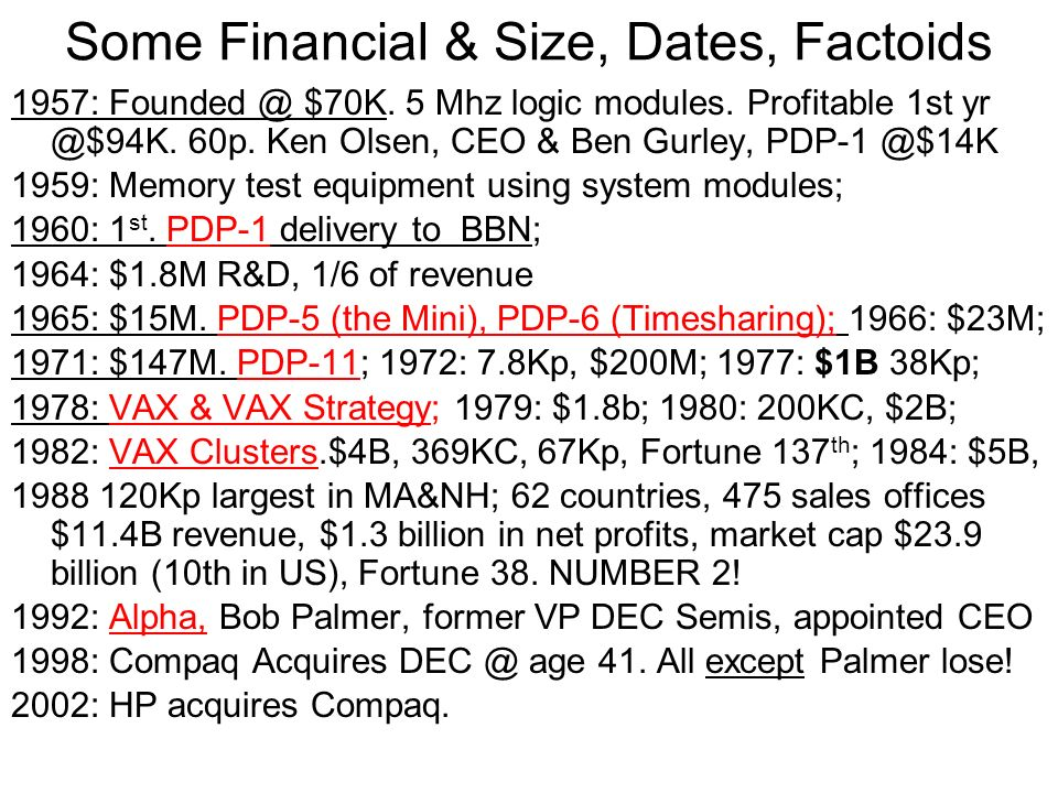 Some Financial & Size, Dates, Factoids 1957: Founded @ $70K.