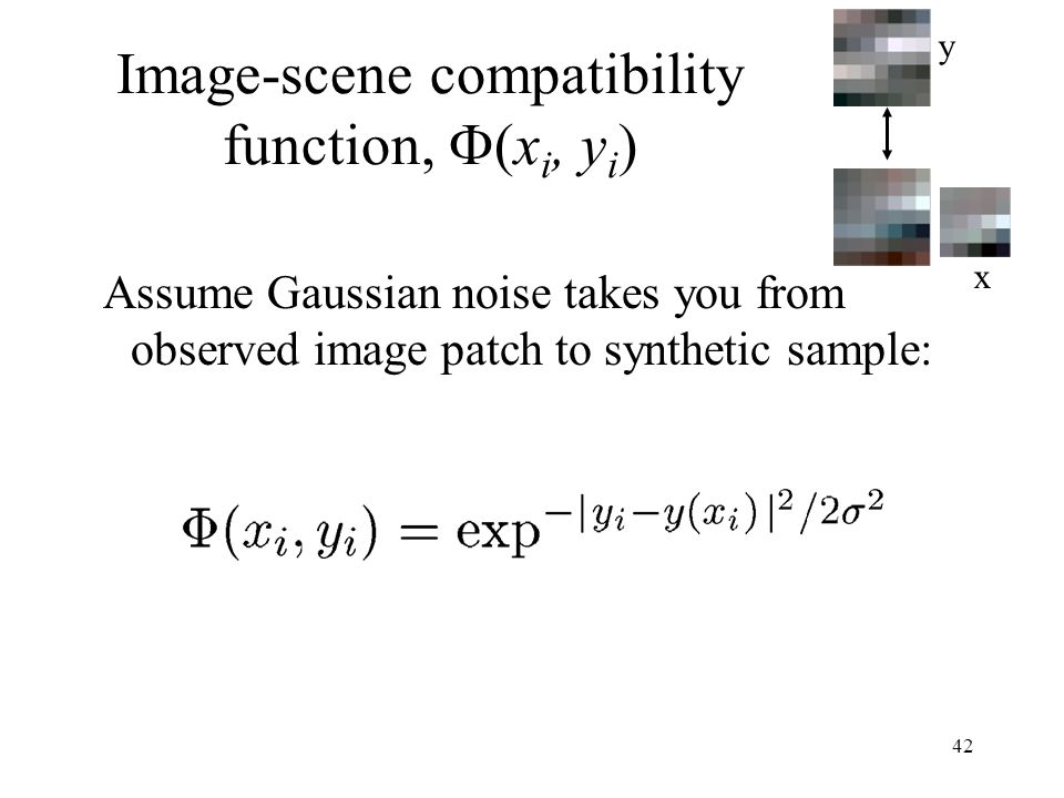 42 Image-scene compatibility function, (x i, y i ) Assume Gaussian noise takes you from observed image patch to synthetic sample: y x
