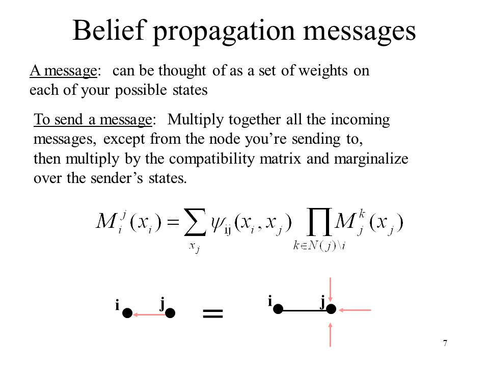 8 Belief propagation: the nosey neighbor rule Given everything that Ive heard, heres what I think is going on inside your house (Given my incoming messages, affecting my state probabilities, and knowing how my states affect your states, heres how I think you should modify the probabilities of your states)