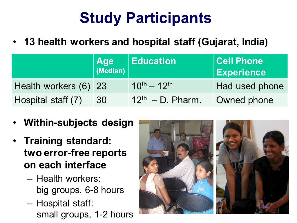 Study Participants 13 health workers and hospital staff (Gujarat, India) Within-subjects design Training standard: two error-free reports on each interface –Health workers: big groups, 6-8 hours –Hospital staff: small groups, 1-2 hours Age (Median) EducationCell Phone Experience Health workers (6)2310 th – 12 th Had used phone Hospital staff (7)3012 th – D.